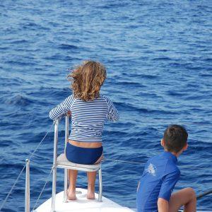 Children watching whales